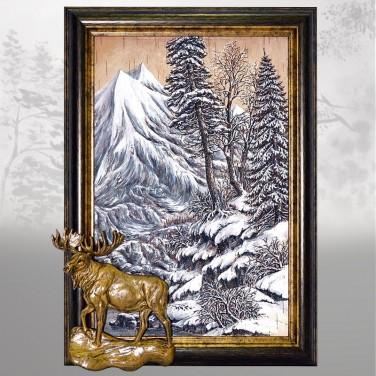 Картина Таежные звери (из бересты)
