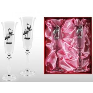Набор фужеров для шампанского С рождением девочки!