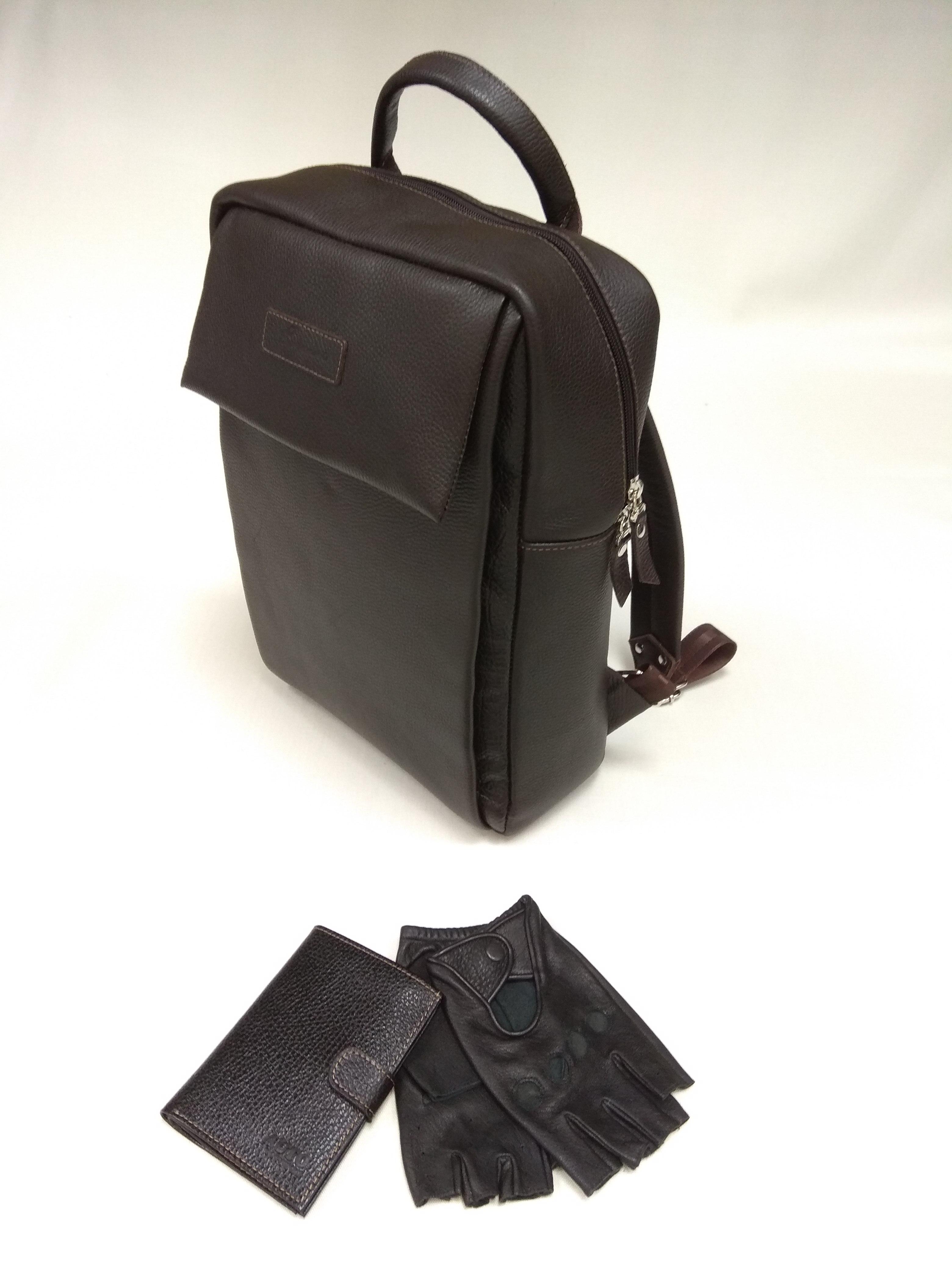 Мужской рюкзак из натуральной кожи, обложка для автодокументов с отделением для денег и перчатки водителя из натуральной кожи (олень) от 10 200 руб